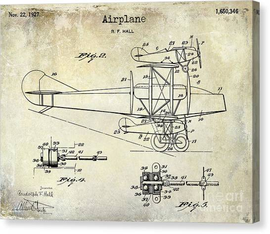 Toy Airplanes Canvas Print - 1927 Airplane Patent Drawing by Jon Neidert