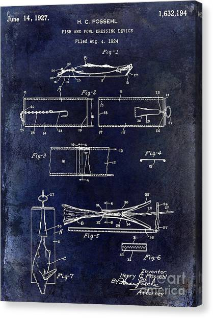Fishing Poles Canvas Print - 1927 Fish And Fowl Cleaning Device Patent Blue by Jon Neidert