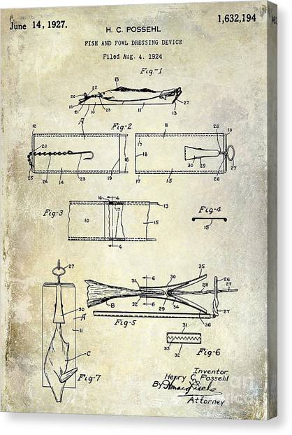 Fishing Poles Canvas Print - 1927 Fish And Fowl Cleaning Device Patent by Jon Neidert