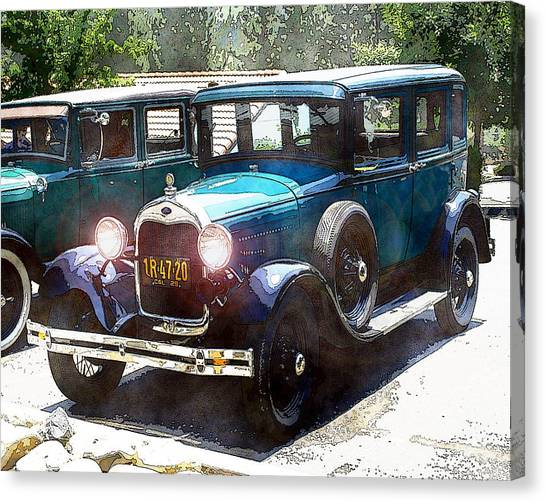 Canvas Print featuring the photograph 1927 Ford Lights On by William Havle