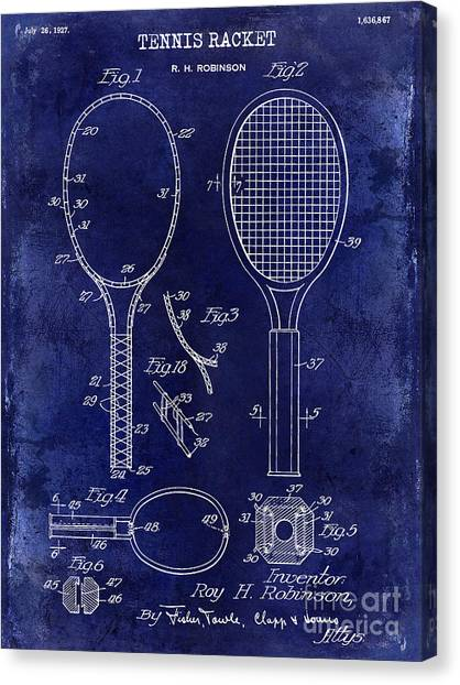 Tennis Racquet Canvas Print - 1927 Tennis Racket Patent Drawing Blue by Jon Neidert