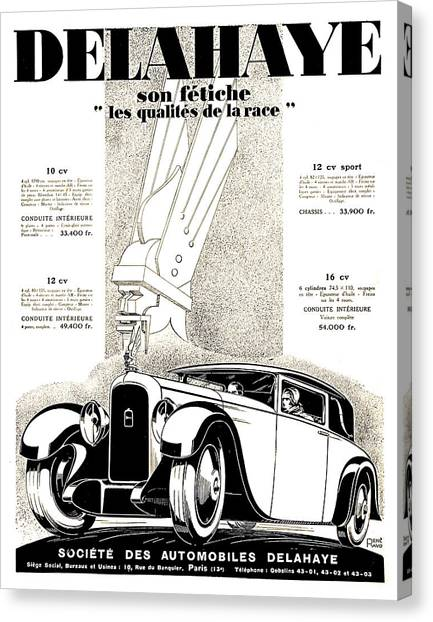 1928 - Delehaye Automobile Advertisement Canvas Print