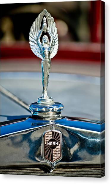 Coupe Canvas Print - 1928 Nash Coupe Hood Ornament 2 by Jill Reger