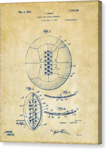 Media Canvas Print - 1928 Soccer Ball Lacing Patent Artwork - Vintage by Nikki Marie Smith