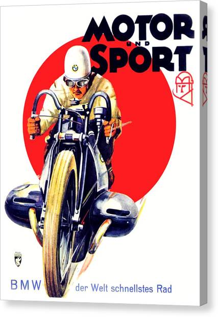 1929 - Bmw Motorcycle Poster - Color Canvas Print