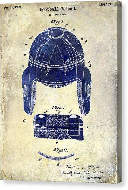 Houston Texans Canvas Print - 1929 Football Helmet Patent Drawing 2 Tone by Jon Neidert