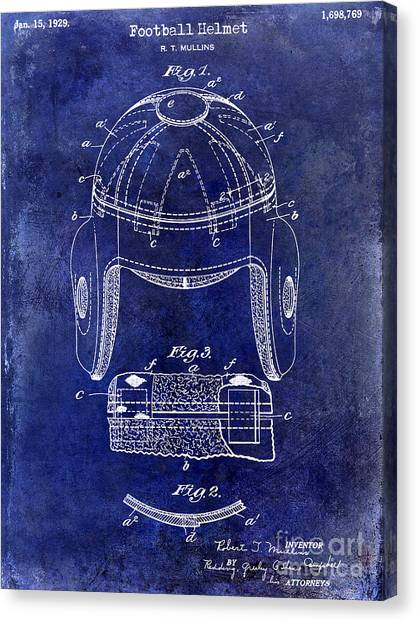 Houston Texans Canvas Print - 1929 Football Helmet Patent Drawing Blue by Jon Neidert