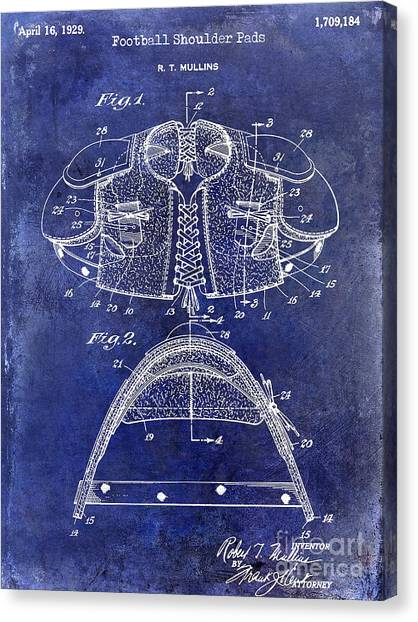 Houston Texans Canvas Print - 1929 Football Shoulder Pads Patent Drawing Blue by Jon Neidert