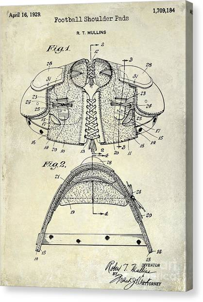 Houston Texans Canvas Print - 1929 Football Shoulder Pads Patent Drawing by Jon Neidert