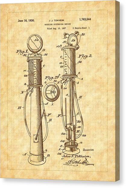 1930 Classic Gas Pump Patent - Automotive - Historical Canvas Print