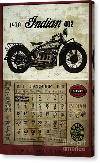 Classic Cycle Canvas Print - 1930 Indian 402 by Cinema Photography