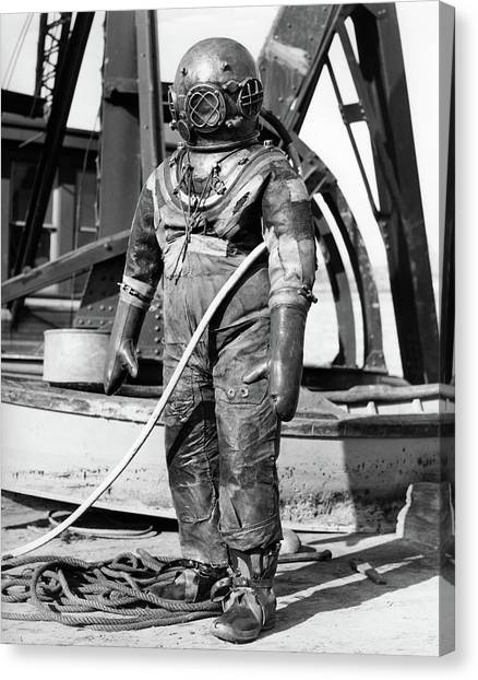 Hard Hat Canvas Print - 1930s 1940s Full Figure Of Man by Vintage Images