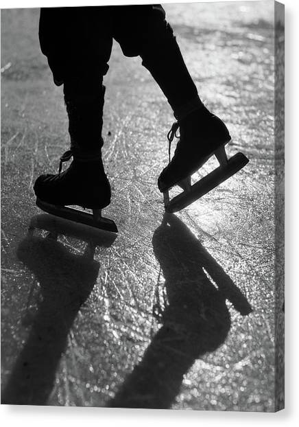 Speed Skating Canvas Print - 1930s Anonymous Silhouetted Figure by Vintage Images