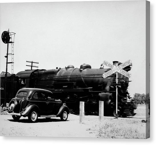 Freight Trains Canvas Print - 1930s Automobile Stopped At Railroad by Vintage Images