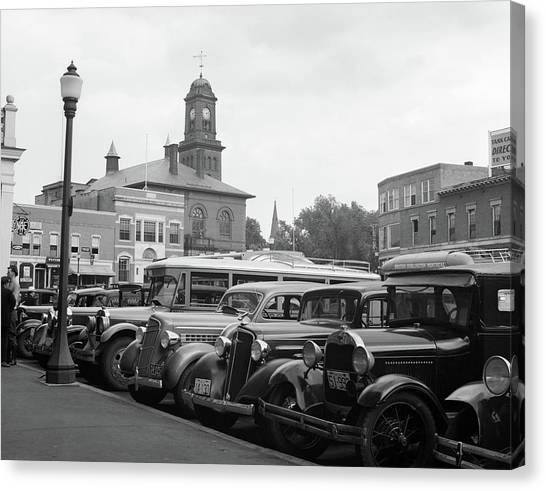 Motoring Canvas Print - 1930s Buses Cars Parked Small Town by Vintage Images