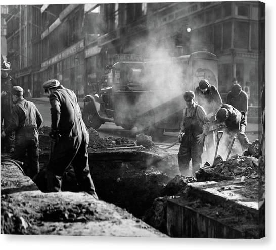 Ditch Canvas Print - 1930s Construction Street Workers by Vintage Images