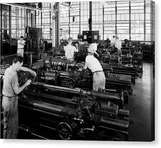 Copy Machine Canvas Print - 1930s Group Of Men Operating Lathes by Vintage Images