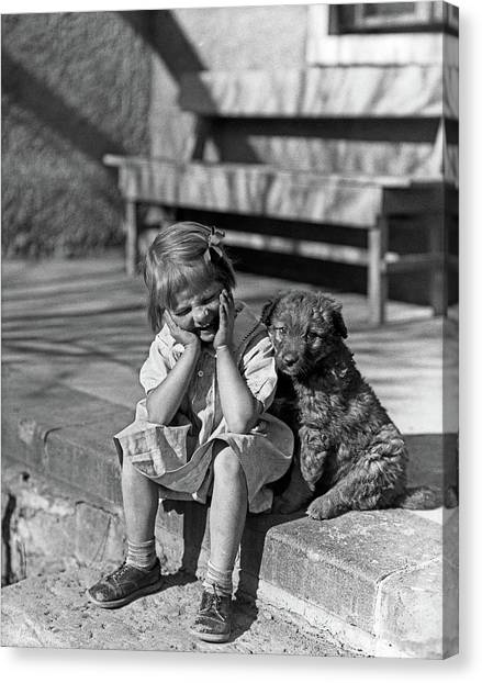 Stoop Canvas Print - 1930s Little Girl Sitting On Porch by Vintage Images