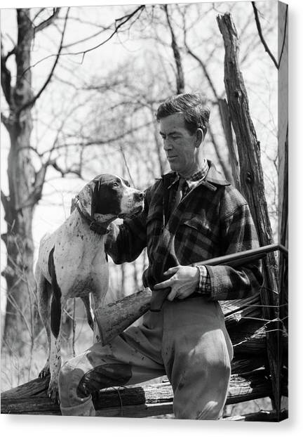 Flannel Canvas Print - 1930s Man Hunter Wearing Plaid Flannel by Animal Images