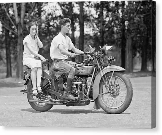 Motorcycle Canvas Print - 1930s Motorcycle Touring by Daniel Hagerman