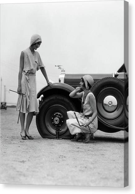 Old Fashioned Canvas Print - 1930s Two Women Confront An Automobile by Vintage Images