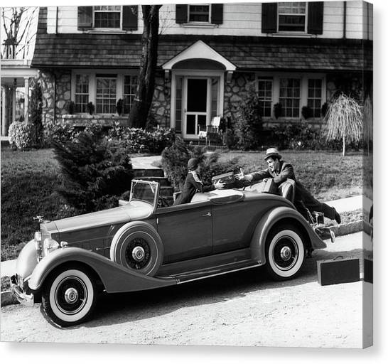 Motoring Canvas Print - 1930s Woman In Car Packard Handing by Vintage Images