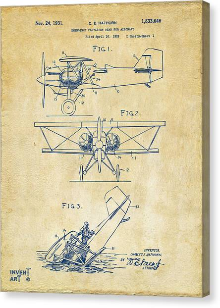 Biplane Canvas Print - 1931 Aircraft Emergency Floatation Patent Vintage by Nikki Marie Smith