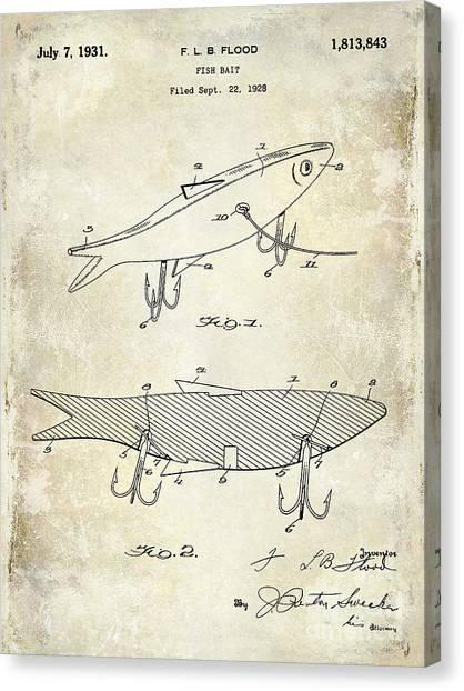 Fishing Poles Canvas Print - 1931 Fish Bait Patent Drawing by Jon Neidert