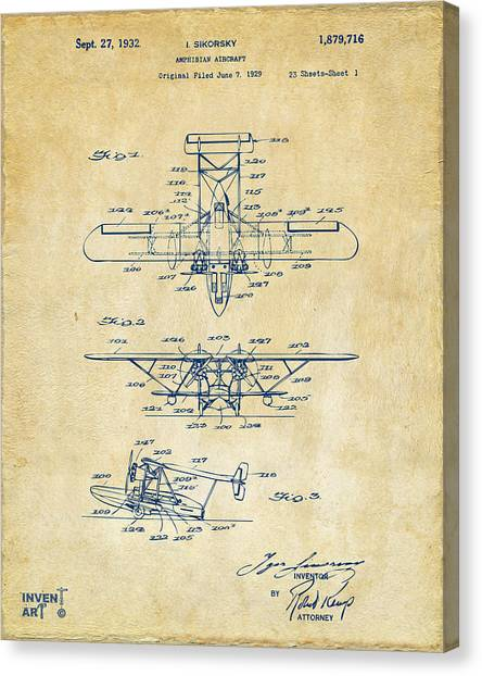 Paper Planes Canvas Print - 1932 Amphibian Aircraft Patent Vintage by Nikki Marie Smith