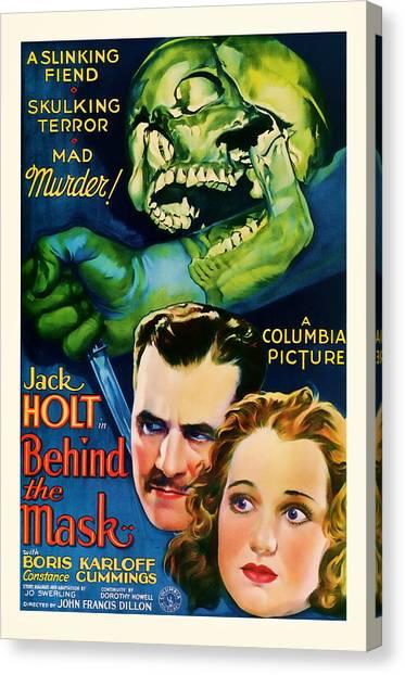 1932 Behind The Mask Vintage Movie Art Canvas Print