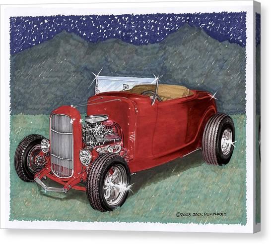 Classic Car Drawings Canvas Print - 1932 Ford High Boy by Jack Pumphrey