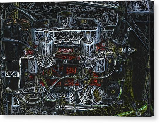 1932 Frazer Nash Tt Engine Detail Digital Art Canvas Print