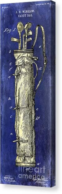 Pga Canvas Print - 1933 Golf Bag Patent Drawing 2 Tone Blue by Jon Neidert