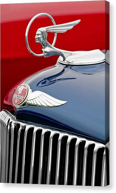 Street Rods Canvas Print - 1933 Pontiac Street Rod Hood Ornament by Jill Reger