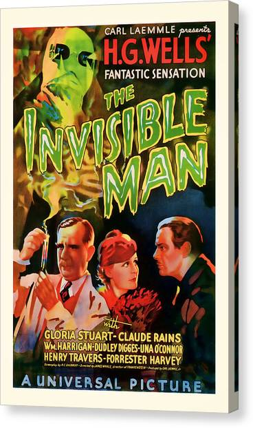 1933 The Invisible Man Vintage Movie Art Canvas Print