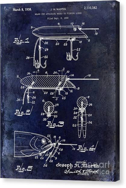 Fishing Poles Canvas Print - 1935 Fishing Lure Patent Blue by Jon Neidert