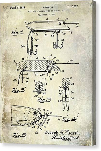 Fishing Poles Canvas Print - 1935 Fishing Lure Patent by Jon Neidert