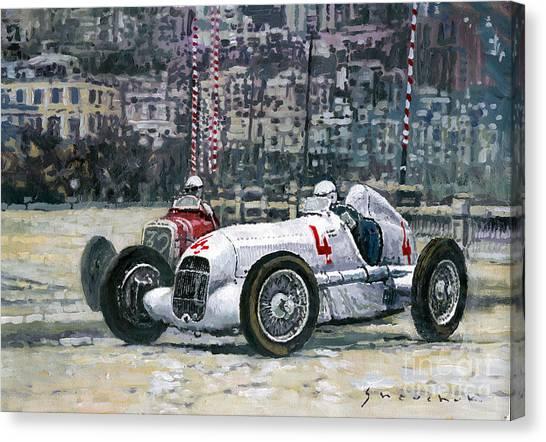 Automotive Art Canvas Print - 1935 Monaco Gp Mercedes-benz W25 #4 L. Fagioli Winner  by Yuriy Shevchuk