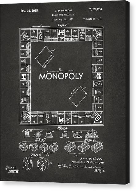 Canvas Print featuring the digital art 1935 Monopoly Game Board Patent Artwork - Gray by Nikki Marie Smith