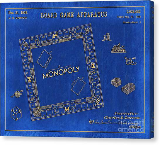 Monopoly game canvas prints page 3 of 9 fine art america monopoly game canvas print 1935 monopoly patent art 3 by nishanth gopinathan malvernweather Choice Image