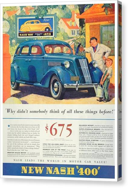 1936 - Nash Sedan Automobile Advertisement - Color Canvas Print