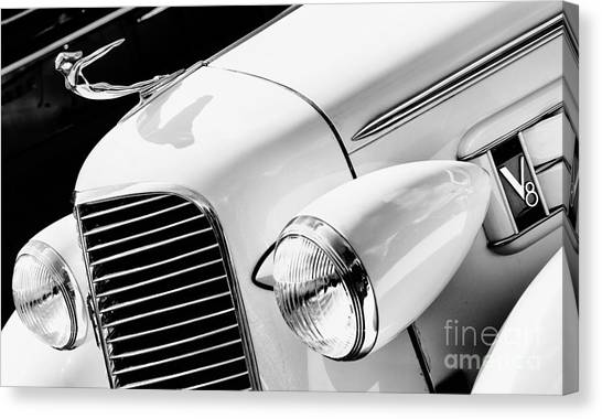 Front End Canvas Print - 1936 Cadillac V8 Monochrome by Tim Gainey