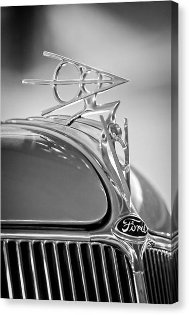 Collector Hood Ornaments Canvas Print - 1936 Ford Deluxe Roadster Hood Ornament 2 by Jill Reger
