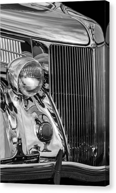 American Steel Canvas Print - 1936 Ford Stainless Steel Grille -0376bw by Jill Reger