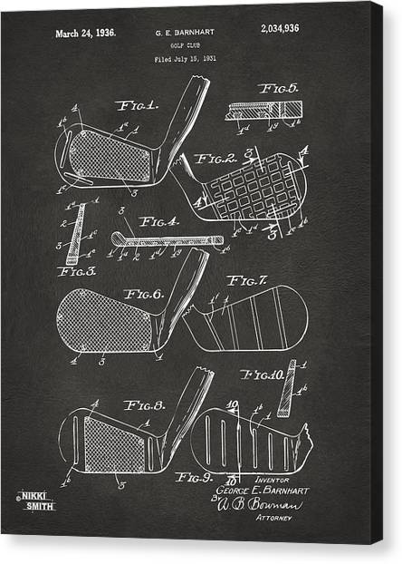 Canvas Print featuring the digital art 1936 Golf Club Patent Artwork - Gray by Nikki Marie Smith