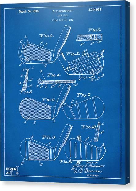 Golfers Canvas Print - 1936 Golf Club Patent Blueprint by Nikki Marie Smith