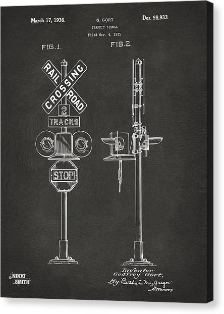 Trains Canvas Print - 1936 Rail Road Crossing Sign Patent Artwork - Gray by Nikki Marie Smith