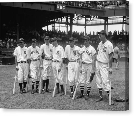 Joe Dimaggio Canvas Print - 1937 American League All-star Players by Georgia Fowler