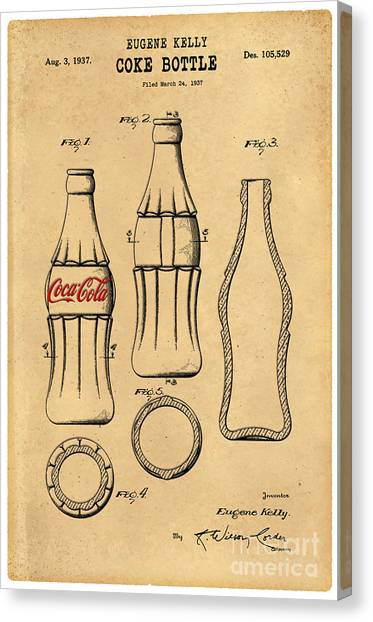 Pepsi Canvas Print - 1937 Coca Cola Bottle Design Patent Art 5 by Nishanth Gopinathan