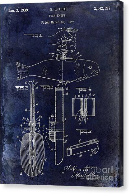 Fishing Poles Canvas Print - 1937 Fishing Knife Patent Blue by Jon Neidert